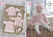 King Cole Double Knitting Pattern Baby pull capuche Angel Top & Veste 5158