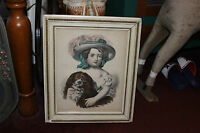 Antique Victorian Print Girl Large Bonnet Holding Pomeranian Dog Framed