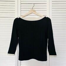 LAUREN Ralph Lauren Silk Blend Boat Neck Black Sweater Women P/S