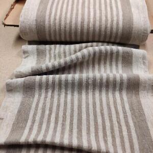 100% linen fabric - heavy french belgium flax dense - striped sack weave linen