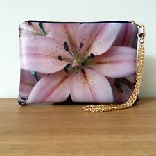 Clutch Bag Pink Hand Floral Evening Faux Leather Chain Flat Handmade Travel