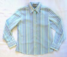EDDIE BAUER Wrinkle Resistant Stripe Long-sleeve Blouse ~ Blue Green White ~Sz S