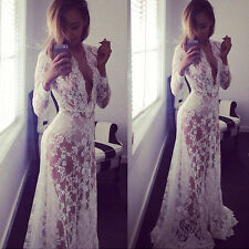 UK Women Lace Sheer See Through Bodycon High Waist Formal Party Gown Long Dress
