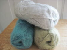 3 part skeins Patons lace yarn - blue grey green  - discontinued - mohair mix