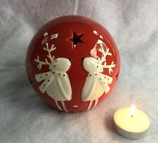 RED RENNA SFERA TEA LIGHT CANDLE HOLDER Natale Novità Divertente con stelle