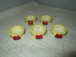 Set of 5 Vintage Mary Engelbreit Cherries Napkin Rings Holders Replacement/Add