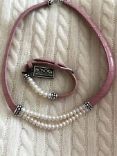 HONORA PINK LEATHER AND WHITE FRESHWATER PEARL NECKLACE AND BRACELET SET🎄
