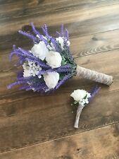 Lavender & White Rose & Baby's Breath Bridal Bridesmaid Bouquet, Boutonniere