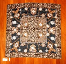"Women's Adrienne Landau Time Clock Black Leopard Silk Scarf - Retail $65 34""x34"""