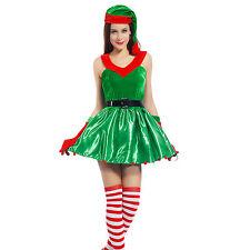 Sexy Ladies Christmas Xmas Elf Santa Helper Halter Fancy Dress Costume Outfit