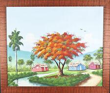 Sans Titre ( Rouge Arbre et Trois Barns ) Encadré Peinture Acrylique