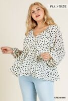 Umgee Spotted Dalmatian Animal Print Long Sleeve Top Plus Size XL 1X