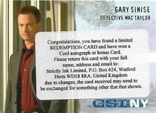 CSI New York Series 1 Auto Redemption Card CSI-NY-A1 Gary Sinise as Mac Taylor