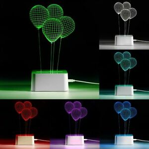 My Glow 3D 7 Colour LED Night Light Touch Table Desk Mood Kids Bedroom Lamp Gift