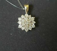 "0.5ct Round Cut Diamond Cluster Pendant Necklace W/18"" Chain 14k Yellow Gold FN"