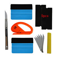 Car Vinyl Wrap Tool Felt Squeegee Carbon Fiber Knife Blade Window Tint Kit