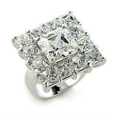 Ladies square ring princess cut cz 10 carat silver cocktail statement flat 0215