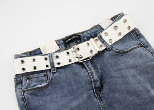 Men Women Unisex 2 Holes Row Grommet Canvas Web Belt Silver Buckle