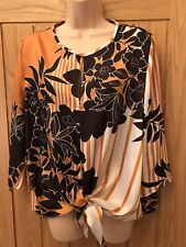 River Island Satin style Blouse Top Size 12 Brown & Orange Floral Tie Front