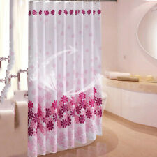 Polyester Water Mildew Proof Pink Flower Bathroom Shower Curtain with Hook B