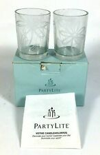 2 PartyLite Votive Tealight Candle Holders P9336 Clear with Frosted Flowers New