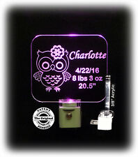Personalized Kids Owl LED Night Light With Birthday - Lamp - Keepsake
