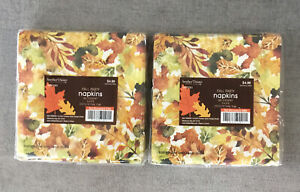 2 Packs Of 30 Hobby Lobby Fall Napkins Gold Trim Autumn Thanksgiving Party Decor