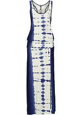 Sommer Maxi Kleid Beinschlitz Strandkleid Blau Pink  Viskose XS S M L neu