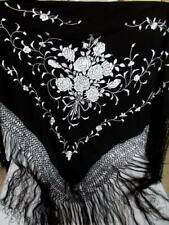 Vintage Black Pure Silk Large Triangle Shawl Scarf Silver Hand Embroidery Fringe