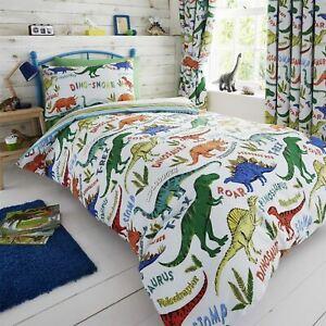 HLC Boys Girls Dinosaur Park Jurassic Green Reversible Duvet Cover Curtains