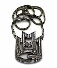 """ICED OUT HEMITITE PT BLACK MAYBACH MUSIC GROUP MMG PENDANT & 36"""" FRANCO CHAIN"""