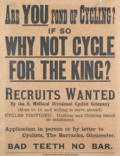 WW1 RECRUITING POSTER SOUTH MIDLAND DIVISION CYCLISTS CO GLOUCESTER NEW A4 PRINT