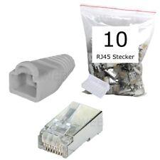 10 Stück CAT5e RJ45 Stecker geschirmt Modular Crimp Patchkabel Netzwerk grau 10x