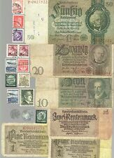 NAZI BANKNOTE, PHOTO DOCUMENT, COIN AND STAMP SET  * G *
