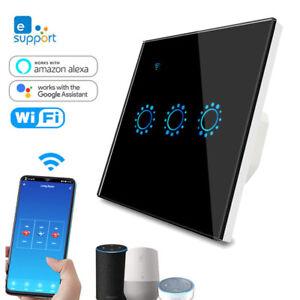 eWelink UK 1/2/3 Gang Crystal Glass Panel Wifi LED Light Touch Switch for Alexa