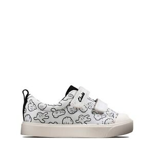 BNIB Clarks Toddler Mickey Mouse CITY GLOVE White Canvas Shoes F/G Fitting