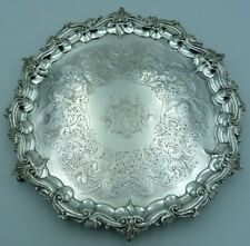 More details for georgian solid silver salver 1127g 35cms / chased george iii crest