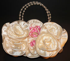 Faux White/Pink Silk Rose Handbag Purse Pearl Handles Flower Girl Wedding Bride