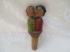 Vintage Hand Carved Wooden & Cork Kissing Couple Bottle Stopper