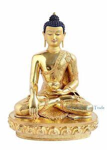 "25"" Shakyamuni Buddha Gold Gilded Face Painted Copper Statue From Patan Nepal"