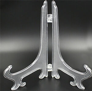 4 size Plastic Display Plate Stand Bowl Picture Frame Photo Book Clear Holder