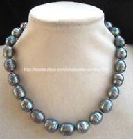 """Natural 10-11 MM South Sea TAHITI Black Pearl Baroque Necklace 18""""AAA"""