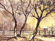 Landscape watercolor painting.  Yellow and purple landscape watercolor (print)