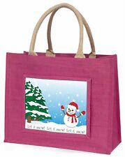 Snow Man Large Pink Shopping Bag Christmas Present Idea, Snow-1BLP
