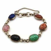 Coro Egyptian Revival Multi Colored Oval Carved Glass Scarab Bracelet W Chain