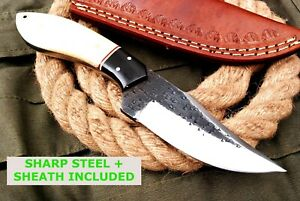 6INCHES NEW HANDMADE STEEL FIXED BLADE HUNTING KNIFE SURVIVAL KNIFE BONE HANDLE