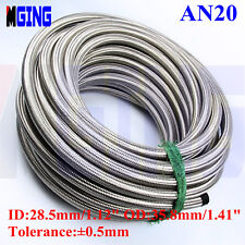 AN20 -20 AN AN-20 Stainless Steel Braided Hose for Fuel Oil /10M Silver