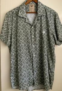 OAS XL Linen Cotton Green White Men's Shirt Short Sleeve NWOT