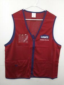 HPI Lowe's Men's Large L Red Customer Service Employee Uniform Vest NEW