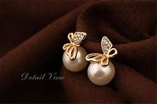 Beauty Women Crystal Golden Butterfly Imitation Pearl Ear Stud Earrings Earbob